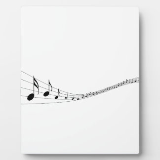 Musical notes on a wave shaped stave plaque