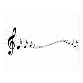 Musical notes on a wave shaped stave post card
