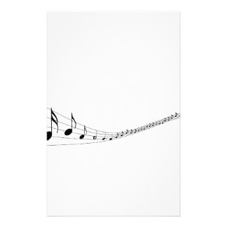 Musical notes on a wave shaped stave stationery paper