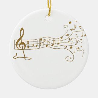 MUSICAL NOTES ON FUN  PENTAGRAM - HAPPY MUSIC GIFT CERAMIC ORNAMENT