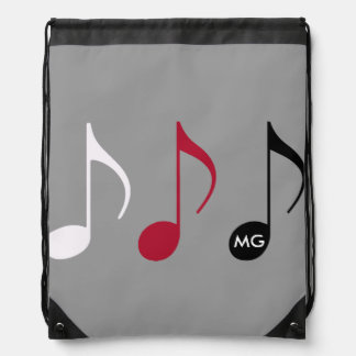 musical notes on gray with intials drawstring bag