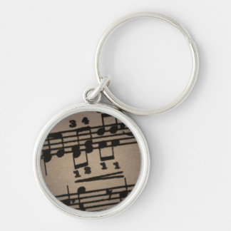 Musical Notes on Grey Silver-Colored Round Keychain