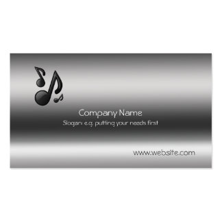 Musical Notes on Metallic-look template Business Card Template