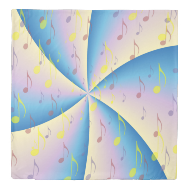 Musical Notes On Pink and Blue Twirl Duvet Cover