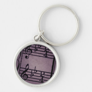 Musical Notes on Rough Purple Silver-Colored Round Keychain
