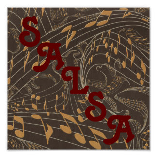 Musical Notes on Staff Salsa Band Poster