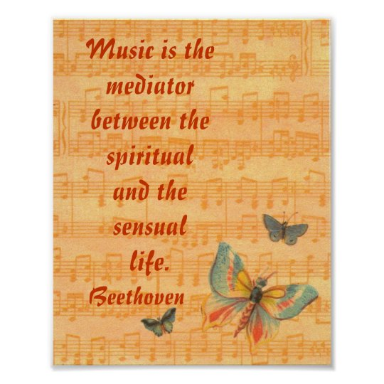 Musical Notes on Staff with Butterflies Beethoven Poster