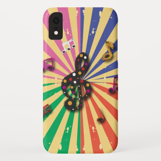 Musical Notes on Sunsplash Background iPhone XR Case