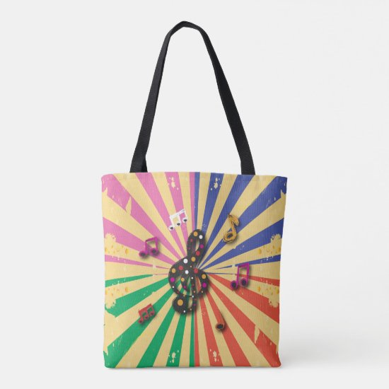 Musical Notes on Sunsplash Background Tote Bag
