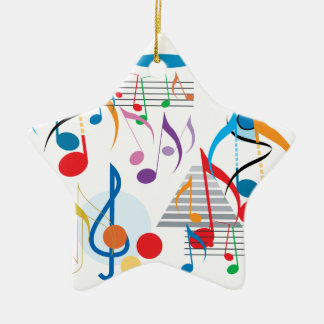 Musical Notes Double-Sided Star Ceramic Christmas Ornament