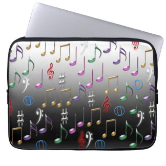 Musical notes pattern laptop sleeve