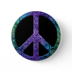 Musical Notes Pattern Peace Sign Button