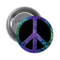 Musical Notes Pattern Peace Sign Pinback Button