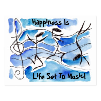 Musical Notes PC Happiness Is Life Set To Music! Postcard