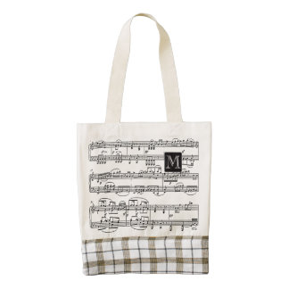 musical notes personalized zazzle HEART tote bag