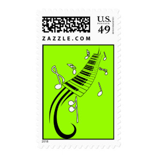 MUSICAL NOTES PIANO KEYBOARD TATTOO GRAPHICS POSTAGE