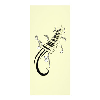 MUSICAL NOTES PIANO KEYBOARD TATTOO GRAPHICS RACK CARD