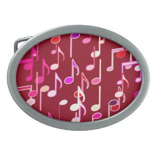 Musical Notes print - burgundy, multi Belt Buckle