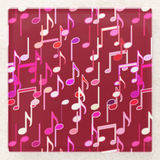 Musical Notes print - burgundy, multi Glass Coaster
