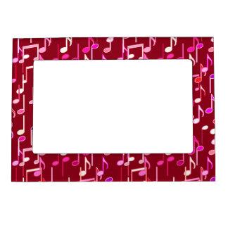 Musical Notes print - burgundy, multi Magnetic Photo Frames