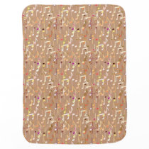 Musical Notes print - Camel Tan Multi Swaddle Blanket