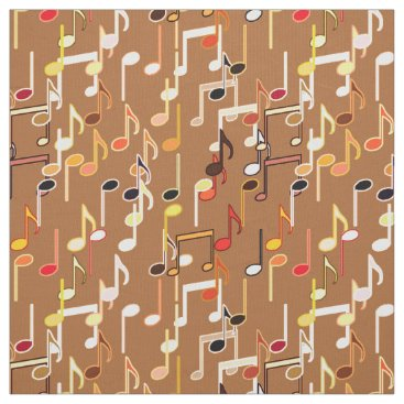 Coffee Themed Musical Notes print - Caramel Tan, Multi Fabric