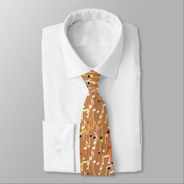 Coffee Themed Musical Notes print - Caramel Tan, Multi Neck Tie