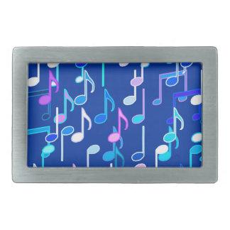 Musical Notes print - indigo blue, multi Belt Buckle