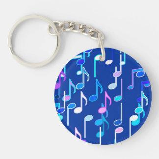 Musical Notes print - indigo blue, multi Keychain