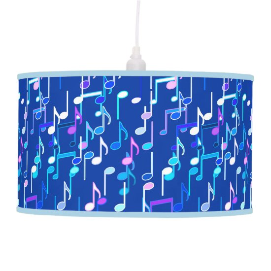 Musical Notes print - indigo blue, multi Pendant Lamp