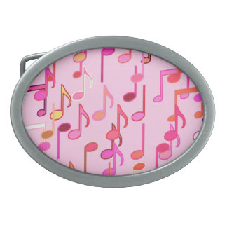 Musical Notes print - pink, multi Belt Buckle
