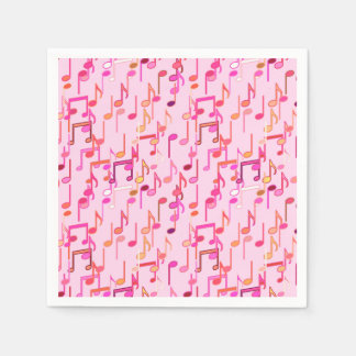 Musical Notes print - pink, multi Standard Cocktail Napkin