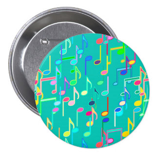 Musical Notes print - turquoise, multi Button
