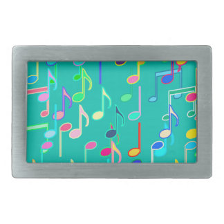 Musical Notes print - turquoise, multi Rectangular Belt Buckle