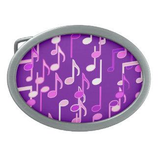 Musical Notes print - violet purple, multi Oval Belt Buckle