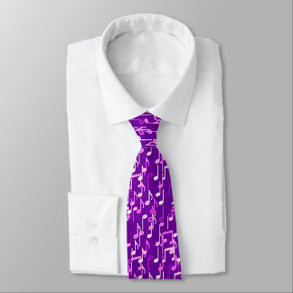 Musical Notes print - violet purple, multi Tie