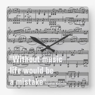 musical notes & quote square wall clocks
