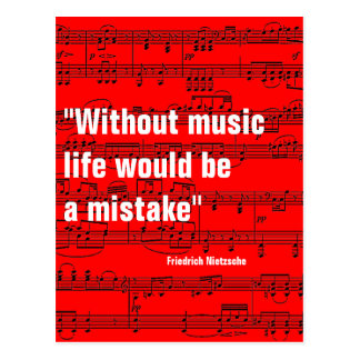 musical notes & quote postcard