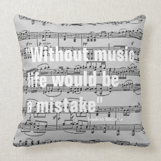 musical notes & quote throw pillow