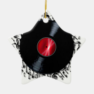 Musical Notes Record Ceramic Ornament