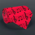 """Musical Notes, Red and Black Tie<br><div class=""""desc"""">Pretty red tie with music notes for the music lover,  musician or music teacher.</div>"""