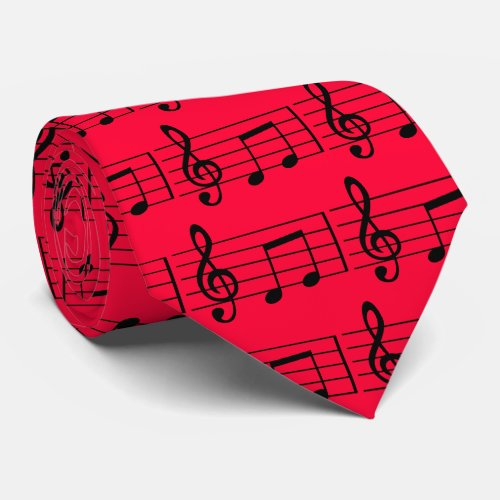 Musical Notes Red and Black Tie