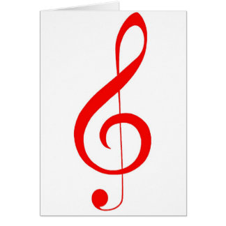 "Musical ""Notes""_Red Treble Clef Greeting Card"