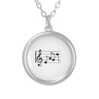 Musical Notes Round Pendant Necklace