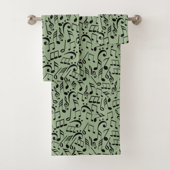 Musical Notes Sage Bath Towel Set