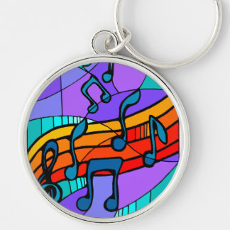 Musical Notes Silver-Colored Round Keychain