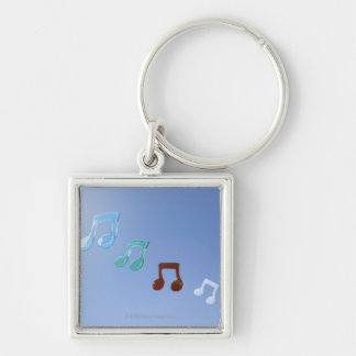 Musical Notes Silver-Colored Square Keychain