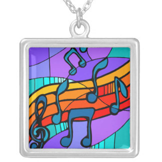 Musical Notes Square Pendant Necklace