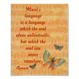Musical Notes Staff with Butterflies Arnold Bennet Poster