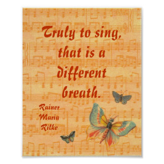 Musical Notes Staff with Butterflies Poster Rilke